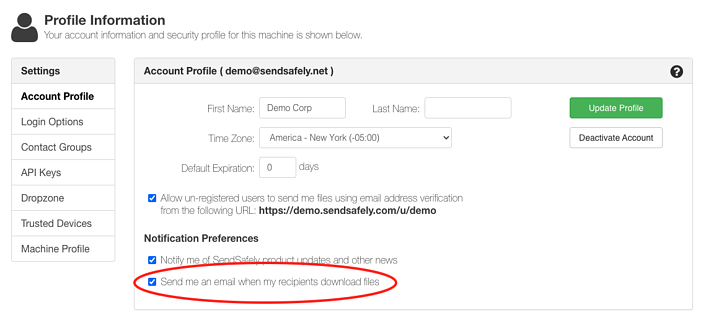 Edit Profile - Delivery Notification