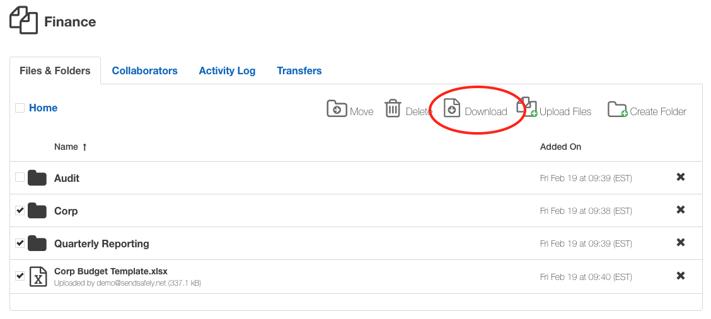 Select Folder - Download Workspace