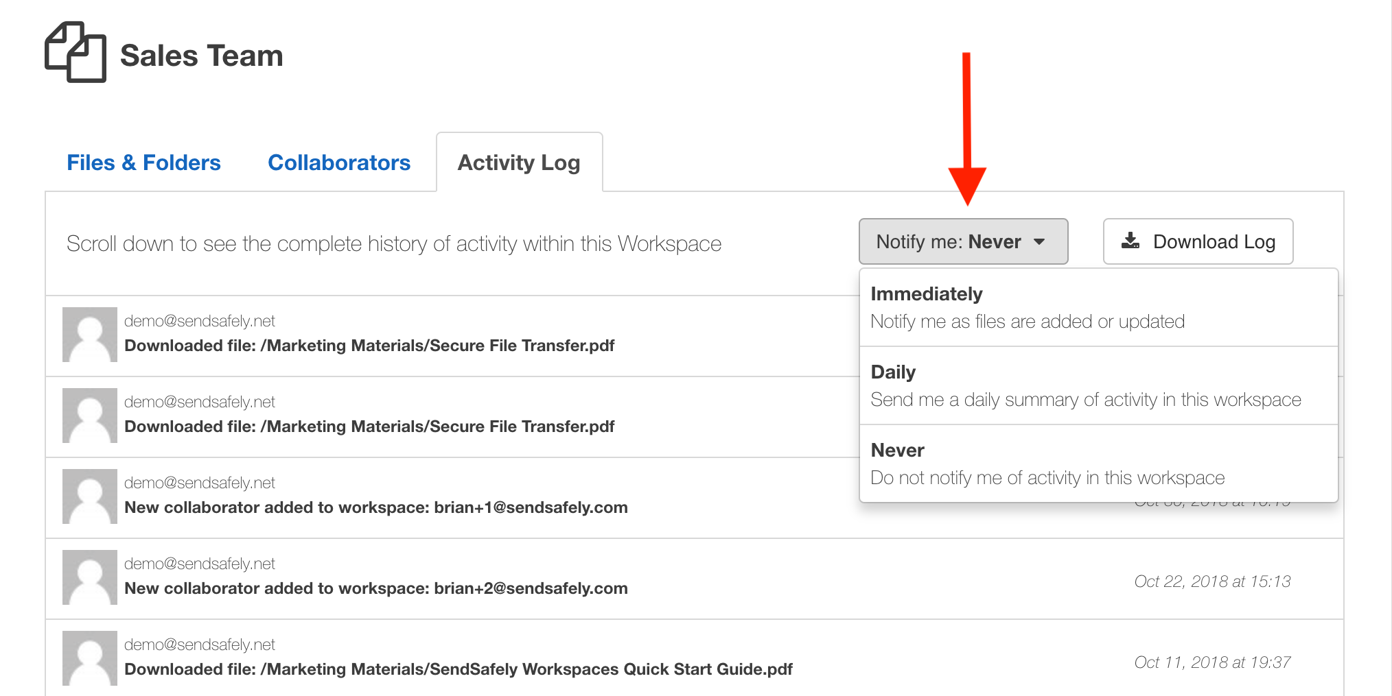 Workspace Notification Options